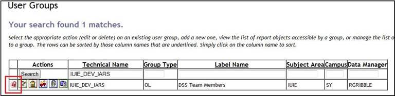 The IUIE User Group List page with the  Sensitive Data Indicator highlighted