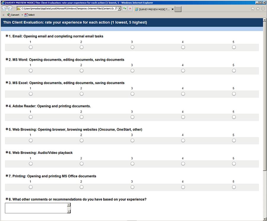 Screenshot of survey questions