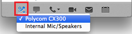 Image of the audio device selection icon in Lync for Mac