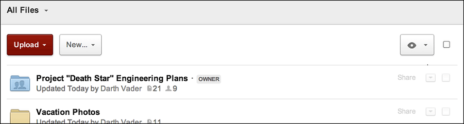 Screenshot of Box showing Darth Vader as owner of the engineering plans folder