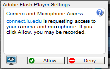 dialog box indicating that connect.iu.edu is requesting access to your camera and microphone and showing allow and deny buttons