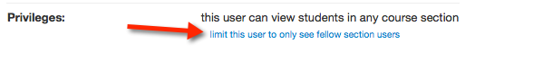 screenshot of canvas privileges window with option to limit TA's viewing to own section selected