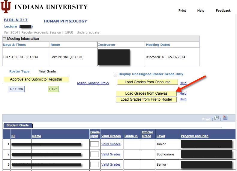 Screenshot of Grade Roster and calculated final grades from Canvas gradebook