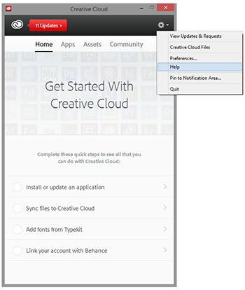 Screenshot of Adobe Creative Cloud applet