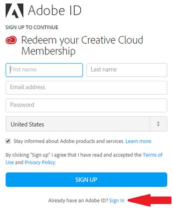 Screenshot of Adobe ID page