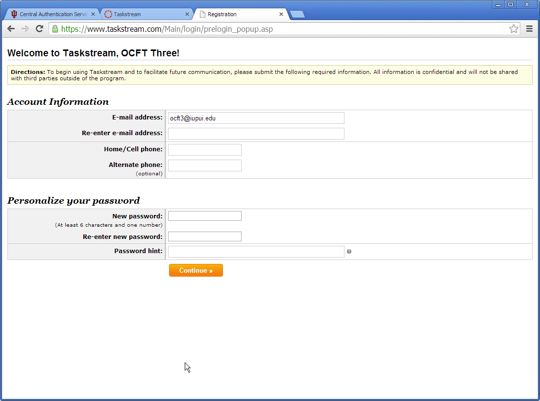 Screenshot of Taskstream account creation page