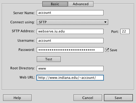 Dreamweaver basic account information screenshot