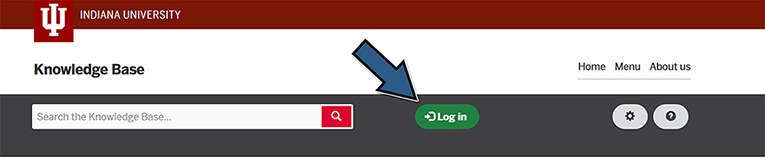 Screenshot showing where to click to log into the KB