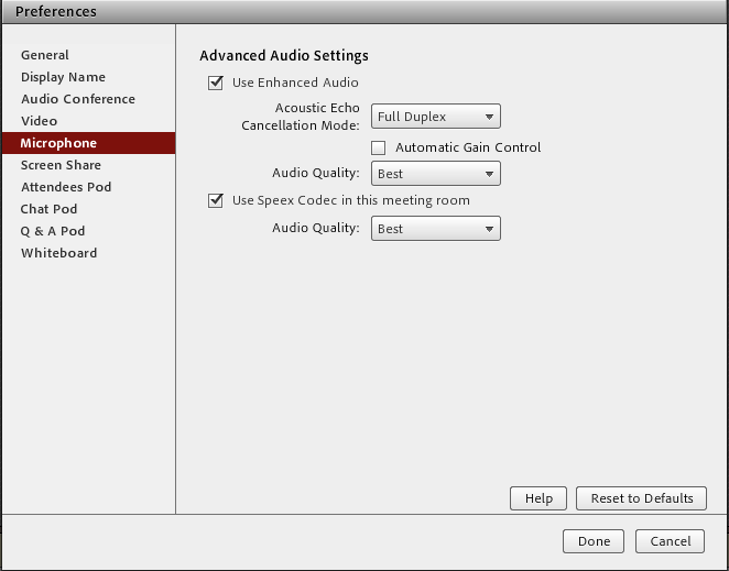 Screenshot of the Adobe Connect preferences window with Microphone settings displayed