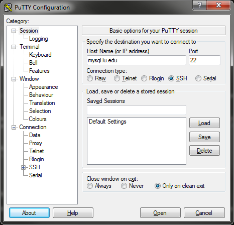 PuTTY Configuration screen
