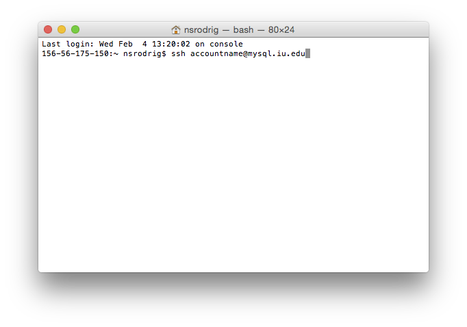 MySQL login screen