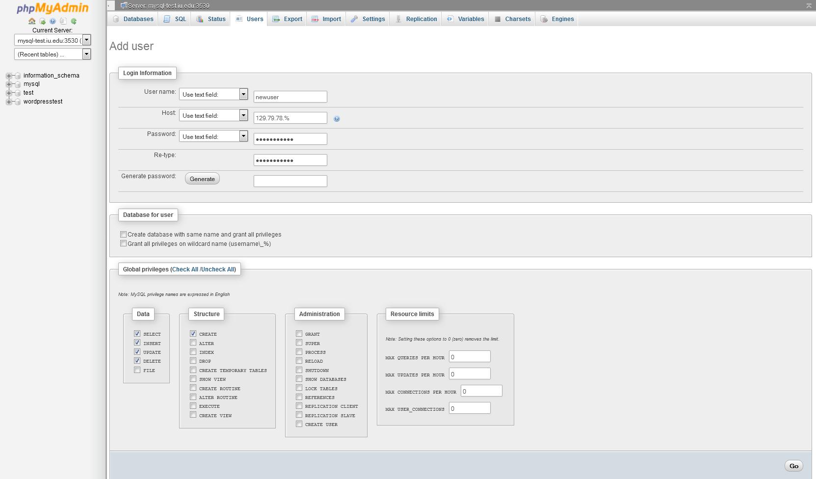 phpMyAdmin Add user page