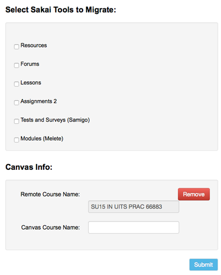 Screenshot of form with list of Sakai tools you can select to migrate to Canvas, and fields to indicate where in Canvas you'd like the content to go