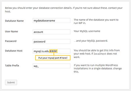 WordPress database connection details screenshot