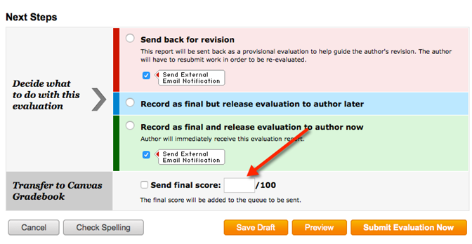 Screenshot of Taskstream final score window with option to transfer score to Canvas Gradebook