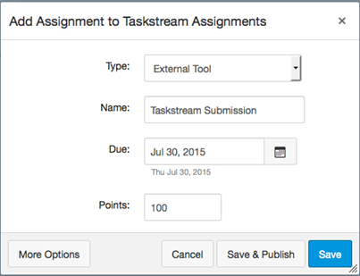 Screenshot of Add Assignment to Taskstream Assignments pop-up window in Canvas