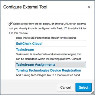 Screenshot of Configure External Tool pop-up window in Canvas
