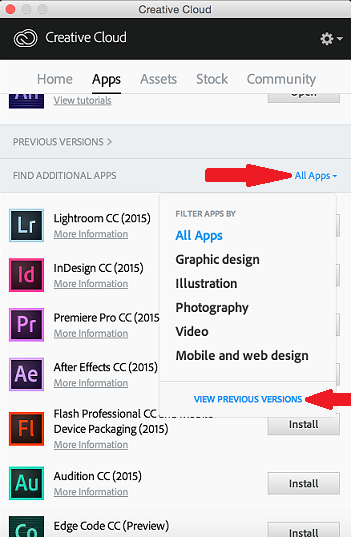 Screenshot of Adobe Creative Cloud applet with 'All Apps' and 'View Previous Versions' selections highlighted