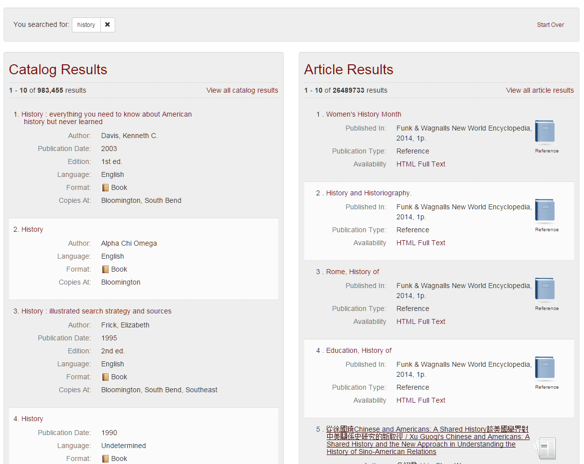 IUCATplus Catalog Results and Article   Results screen