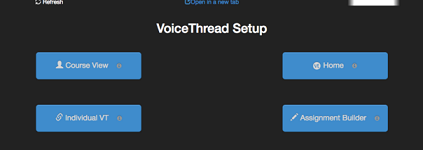screenshot of voicethread setup box with four options