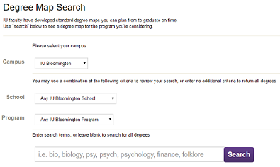 Degree Map search options