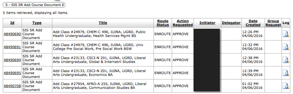 Filtered view of Action List (eAdd requests)