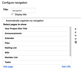 The groupspace configure navigation screen