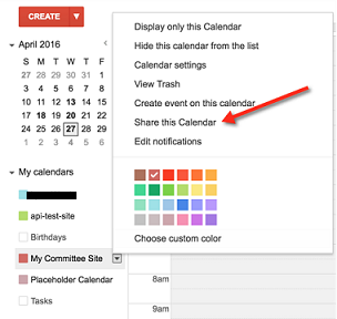 The groupspace calendar settings screen