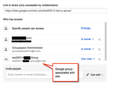 The groupspace sharing and permissions screen