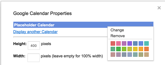 The Google Calendar Properties window