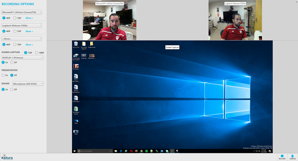 Kaltura CaptureSpace desktop