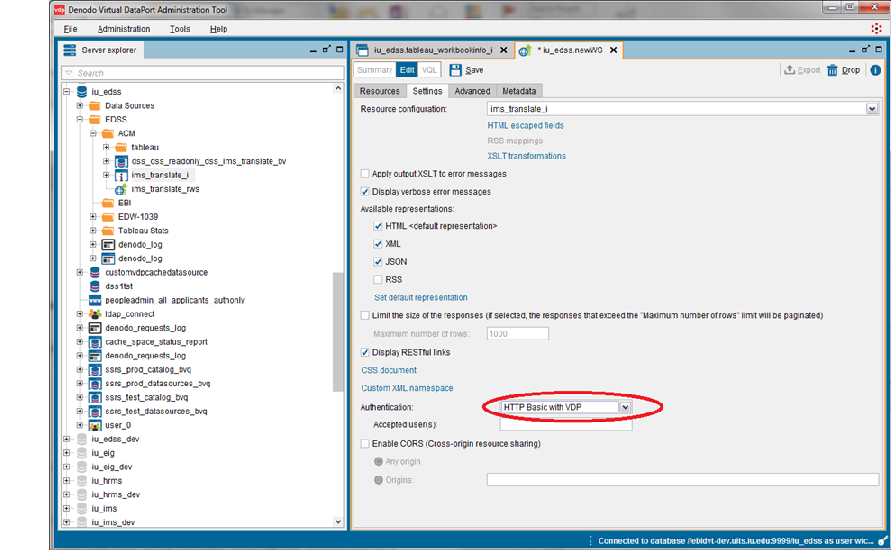 Settings tab when setting up new REST Web service in Denodo, with Authentication drop-down highlighted