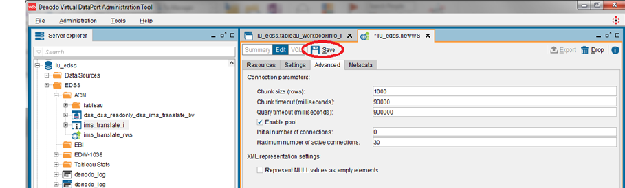 Screenshot of Denodo Virtual DataPort Administration Tool with Save button highlighted