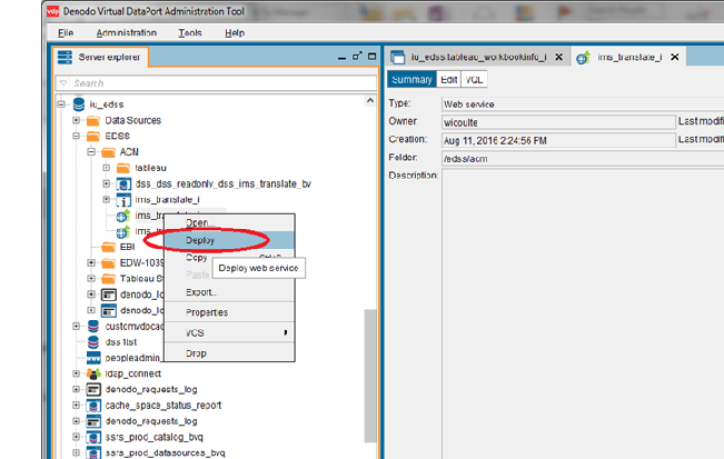 Denodo Virtual DataPort Administration Tool with deploy option highlighted