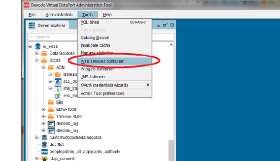 Denodo Virtual DataPort Administration Tool with Tools menu open and Web services container option highlighted