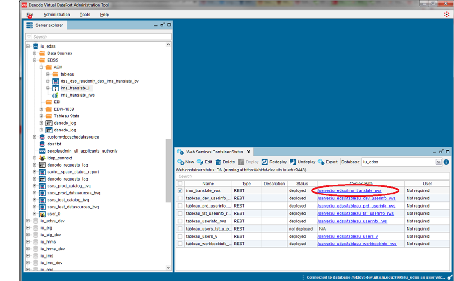 Screenshot of Denodo Virtual DataPort Administrative Tool with web services container status window open and context path highlighted