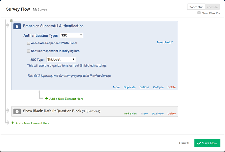Qualtrics Survey Flow screen