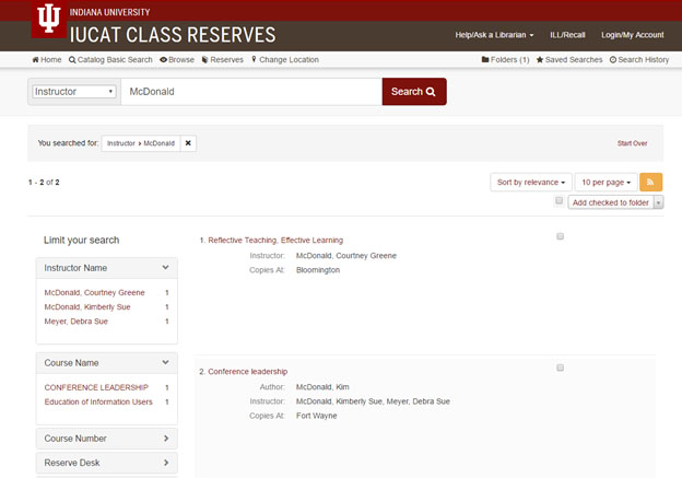 IUCAT reserves instructor search results (a078u)