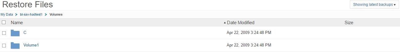 Commvault Restore Files directory window
