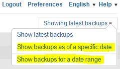 Commvault restore backup submenu
