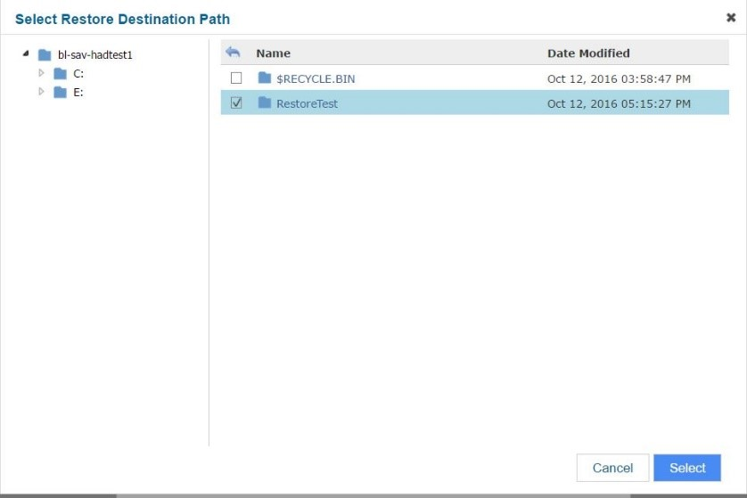 Commvault Select Restore Destination Path window