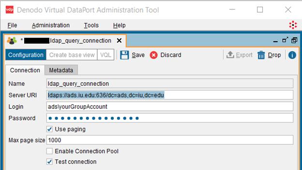 Screenshot of Denodo Virtual DataPort Administration Tool connection setup screen