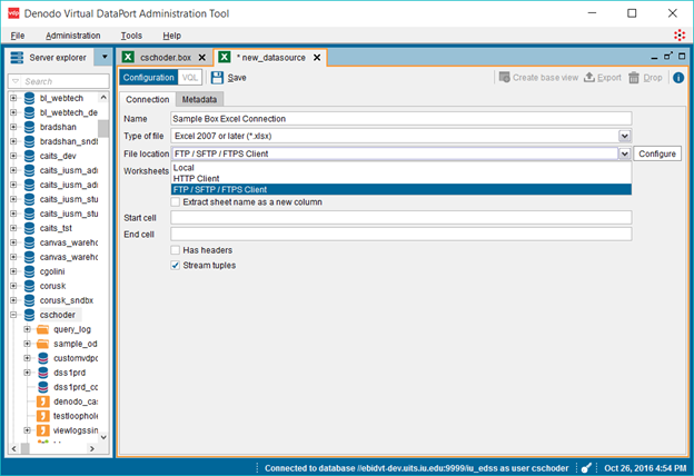 Denodo Virtual DataPort Administration Tool's configuration screen, connection tab