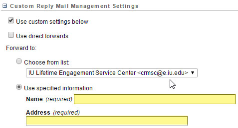 Salesforce Marketing Cloud Custom Reply Mail Management Settings