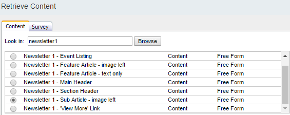 Salesforce select content type from Newsletter 1 folder