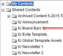 IU Brand Bars option in Shared Contents menu