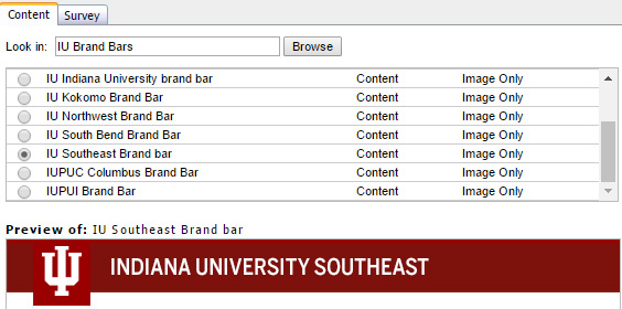 IU Southeast Brand Bar example