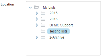 Salesforce Marketing Cloud: Select a folder for a new subscriber list