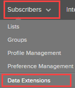 Salesforce Marketing Cloud Subscribers menu: Select Data Extensions