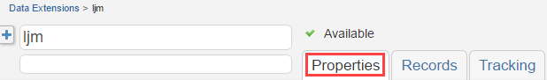 Salesforce Marketing Cloud Data Extensions screen: Select Properties tab
